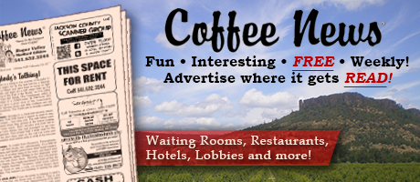 Medford, Oregon Coffee News print advertising: waiting rooms, restaurants