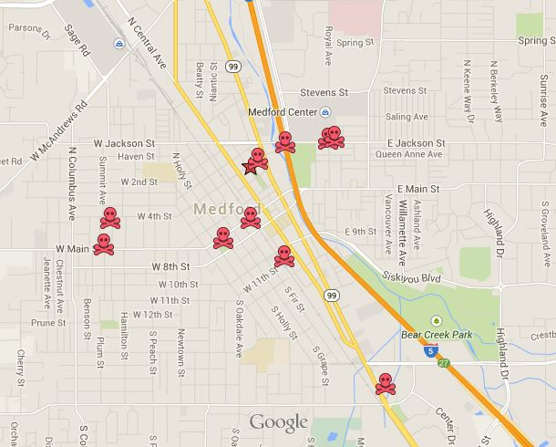 Medford, Oregon Graffiti Clean Up Map
