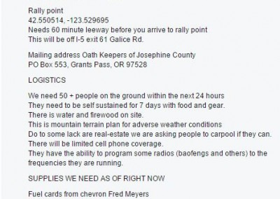 Oath Keepers call members to Galice, Oregon to protect mining property.