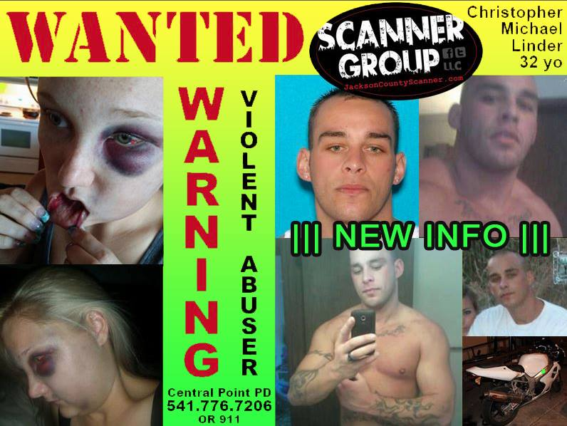 WANTED:  Christoper LinderViolent AbuserCentral Point, OR